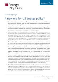 2017-02 Natural Gas - North America Insight - A new era for US energy policy? cover
