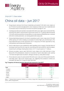 2017-07 Oil - Data review - China oil data – Jun 2017 cover