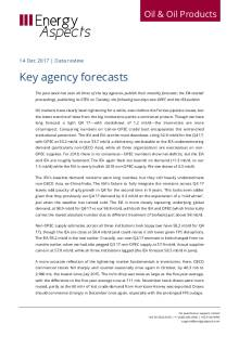 2017-12 Oil - Data review - Key agency forecasts cover